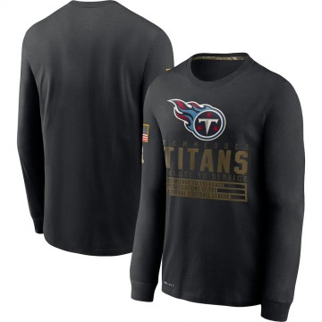 Men's Tennessee Titans Black 2020 Salute to Service Sideline Performance Long Sleeve T-Shirt -
