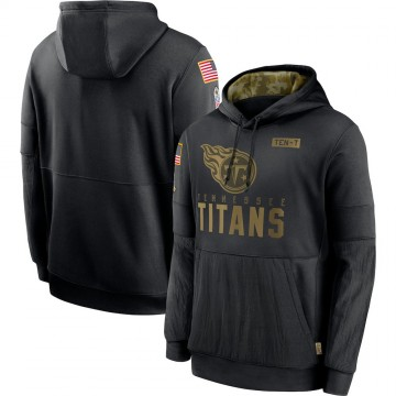 Men's Nike Tennessee Titans Black 2020 Salute to Service Sideline Performance Pullover Hoodie -