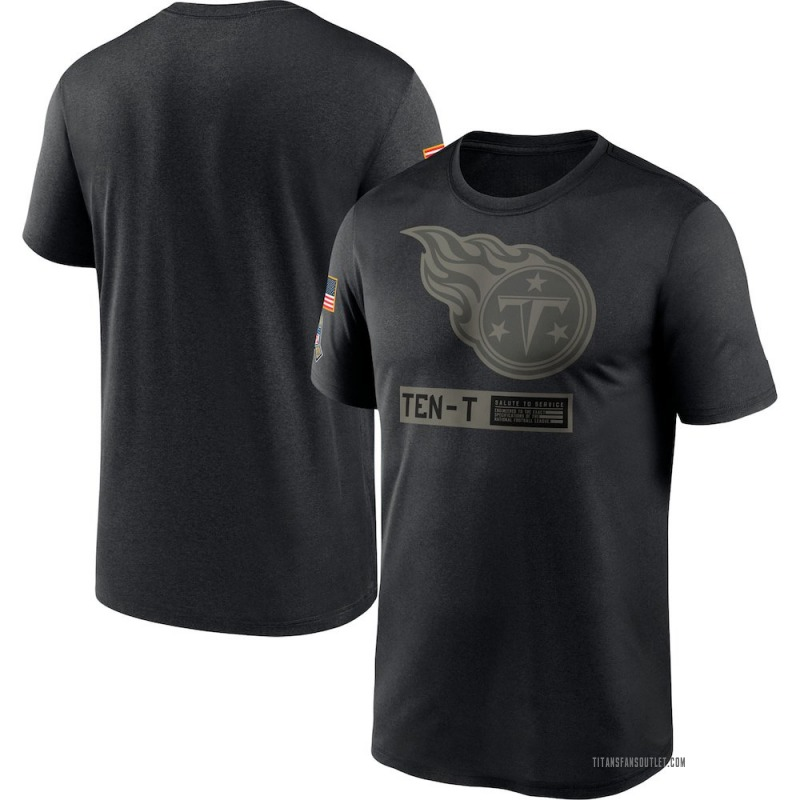 Men's Nike Tennessee Titans Black 2020 Salute to Service Team Logo Performance T-Shirt -