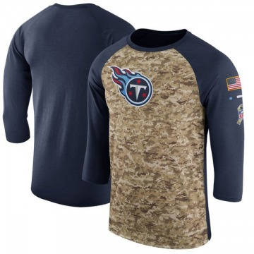 Men's Tennessee Titans Camo /Navy Salute to Service 2017 Sideline Performance Three-Quarter Sleeve T-Shirt - Legend