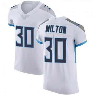 Men's Nike Tennessee Titans Chris Milton White Vapor Untouchable Jersey - Elite