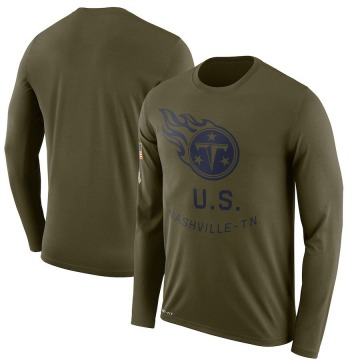 Men's Nike Tennessee Titans Olive 2018 Salute to Service Sideline Performance Long Sleeve T-Shirt - Legend