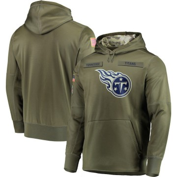 Men's Nike Tennessee Titans Olive 2018 Salute to Service Sideline Therma Performance Pullover Hoodie -