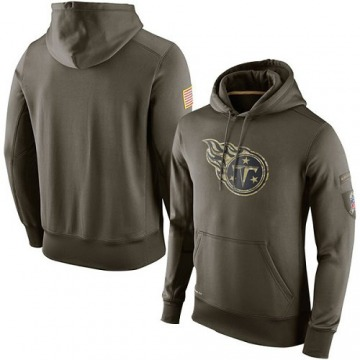 Men's Nike Tennessee Titans Olive Salute To Service KO Performance Hoodie -