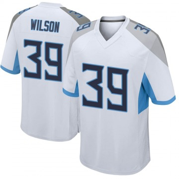 Men's Nike Tennessee Titans Shaun Wilson White Jersey - Game
