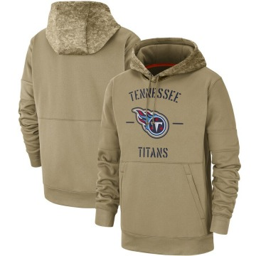 Men's Nike Tennessee Titans Tan 2019 Salute to Service Sideline Therma Pullover Hoodie -