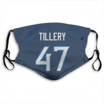 Tennessee Titans JoJo Tillery Navy Jersey Name & Number Face Mask