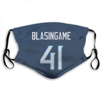 Tennessee Titans Khari Blasingame Navy Jersey Name & Number Face Mask