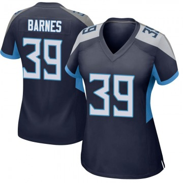 Women's Nike Tennessee Titans Alex Barnes Navy Jersey - Game