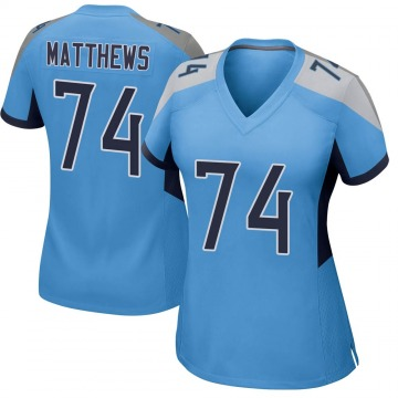 Women's Nike Tennessee Titans Bruce Matthews Light Blue Jersey - Game