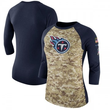 Women's Tennessee Titans Camo /Navy Salute to Service 2017 Three-Quarter Raglan Sleeve T-Shirt - Legend