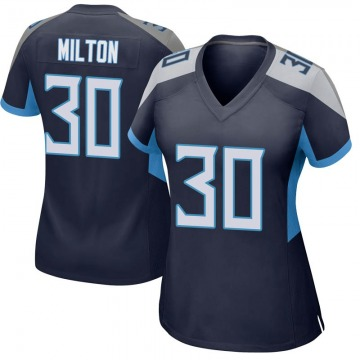 Women's Nike Tennessee Titans Chris Milton Navy Jersey - Game