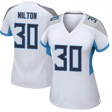 Women's Nike Tennessee Titans Chris Milton White Jersey - Game