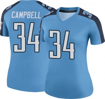 Women's Nike Tennessee Titans Earl Campbell Light Blue Color Rush Jersey - Legend