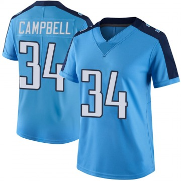 Women's Nike Tennessee Titans Earl Campbell Light Blue Color Rush Jersey - Limited