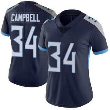 Women's Nike Tennessee Titans Earl Campbell Navy Vapor Untouchable Jersey - Limited