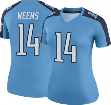Women's Nike Tennessee Titans Eric Weems Light Blue Color Rush Jersey - Legend
