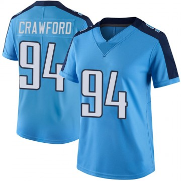 Women's Nike Tennessee Titans Jack Crawford Light Blue Color Rush Jersey - Limited