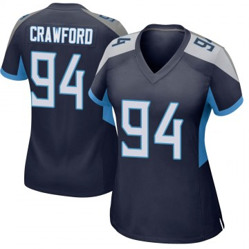 Women's Nike Tennessee Titans Jack Crawford Navy Jersey - Game
