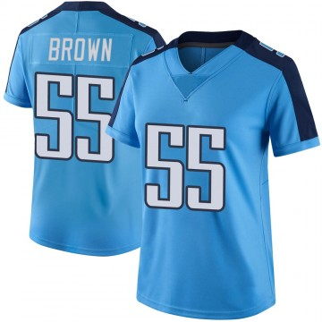 Women's Nike Tennessee Titans Jayon Brown Light Blue Color Rush Jersey - Limited