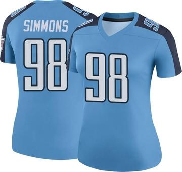 Women's Nike Tennessee Titans Jeffery Simmons Light Blue Color Rush Jersey - Legend