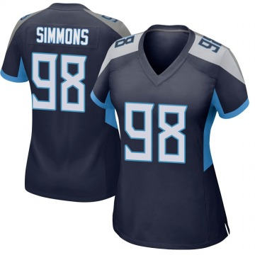 Women's Nike Tennessee Titans Jeffery Simmons Navy Jersey - Game