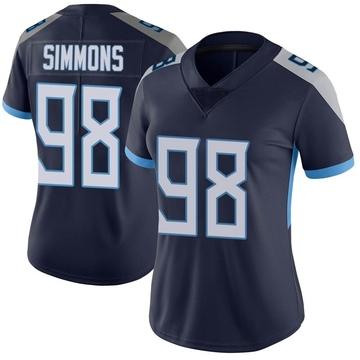 Women's Nike Tennessee Titans Jeffery Simmons Navy Vapor Untouchable Jersey - Limited