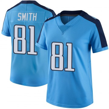 Women's Nike Tennessee Titans Jonnu Smith Light Blue Color Rush Jersey - Limited