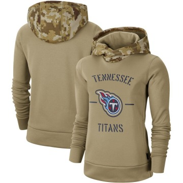 Women's Nike Tennessee Titans Khaki 2019 Salute to Service Therma Pullover Hoodie -