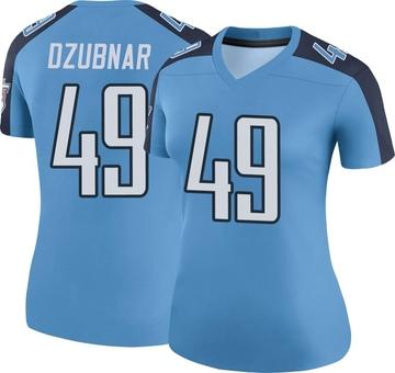 Women's Nike Tennessee Titans Nick Dzubnar Light Blue Color Rush Jersey - Legend