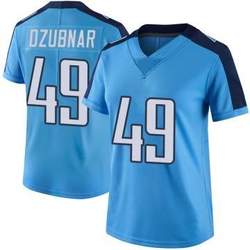 Women's Nike Tennessee Titans Nick Dzubnar Light Blue Color Rush Jersey - Limited