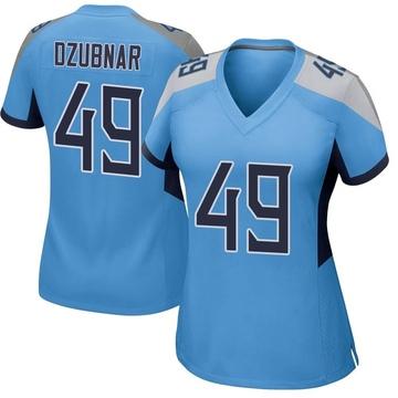 Women's Nike Tennessee Titans Nick Dzubnar Light Blue Jersey - Game