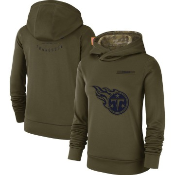 Women's Nike Tennessee Titans Olive 2018 Salute to Service Team Logo Performance Pullover Hoodie -