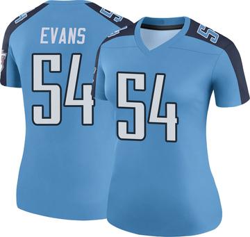 Women's Nike Tennessee Titans Rashaan Evans Light Blue Color Rush Jersey - Legend