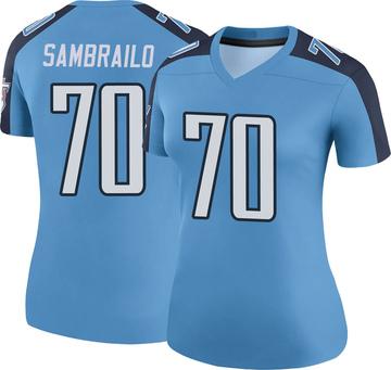 Women's Nike Tennessee Titans Ty Sambrailo Light Blue Color Rush Jersey - Legend