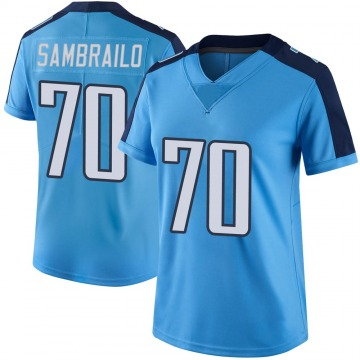 Women's Nike Tennessee Titans Ty Sambrailo Light Blue Color Rush Jersey - Limited