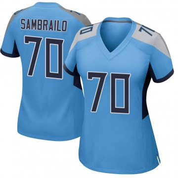 Women's Nike Tennessee Titans Ty Sambrailo Light Blue Jersey - Game