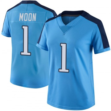 Women's Nike Tennessee Titans Warren Moon Light Blue Color Rush Jersey - Limited