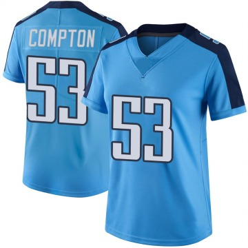 Women's Nike Tennessee Titans Will Compton Light Blue Color Rush Jersey - Limited