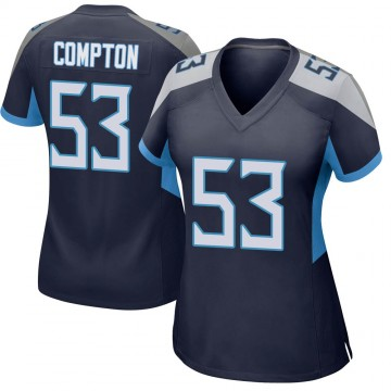 Women's Nike Tennessee Titans Will Compton Navy Jersey - Game