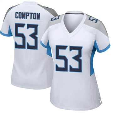 Women's Nike Tennessee Titans Will Compton White Jersey - Game