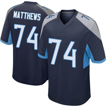 Youth Nike Tennessee Titans Bruce Matthews Navy Jersey - Game