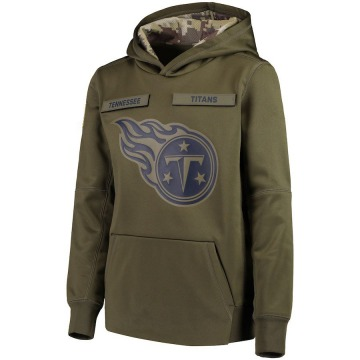 Youth Nike Tennessee Titans Green 2018 Salute to Service Pullover Performance Hoodie -