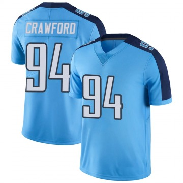 Youth Nike Tennessee Titans Jack Crawford Light Blue Color Rush Jersey - Limited