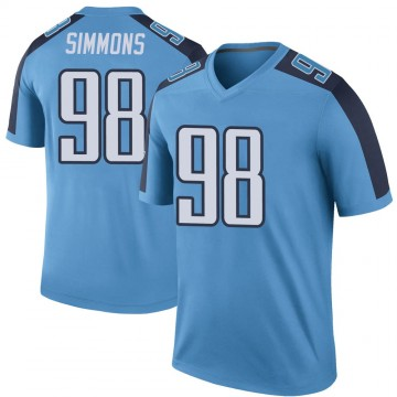 Youth Nike Tennessee Titans Jeffery Simmons Light Blue Color Rush Jersey - Legend