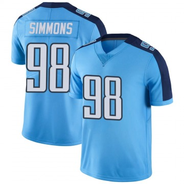 Youth Nike Tennessee Titans Jeffery Simmons Light Blue Color Rush Jersey - Limited