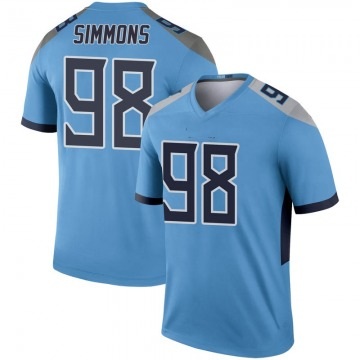 Youth Nike Tennessee Titans Jeffery Simmons Light Blue Inverted Jersey - Legend