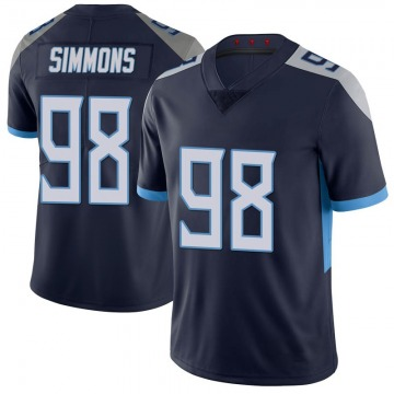 Youth Nike Tennessee Titans Jeffery Simmons Navy 100th Vapor Untouchable Jersey - Limited