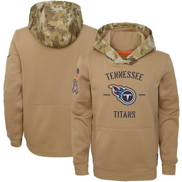 Youth Nike Tennessee Titans Khaki 2019 Salute to Service Therma Pullover Hoodie -